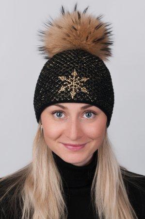 Černá dámská zimní pletená čepice s pravou kožešinovou odepínací bambulí v přírodní barvě barvě