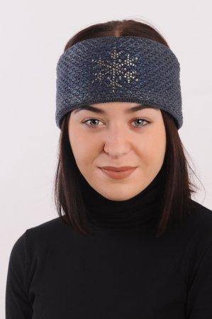 Džínově modrá dámská zimní pletená čelenka