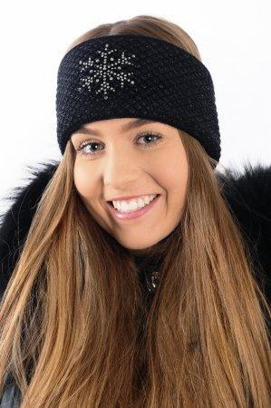 Černá dámská zimní pletená čelenka s černou lesklou nitkou a kamínky