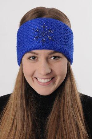 Modrá dámská zimní pletená čelenka s modrou lesklou nitkou a kamínky