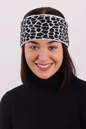 Bílá dámská zimní pletená čelenka s leopardím vzorem