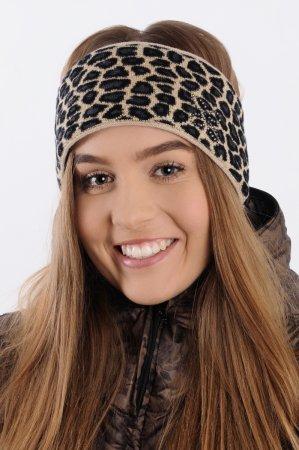 Béžová dámská zimní pletená čelenka s leopardím vzorem