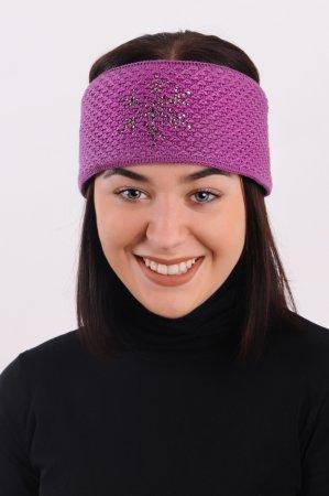 Tmavě růžová dámská zimní pletená čelenka