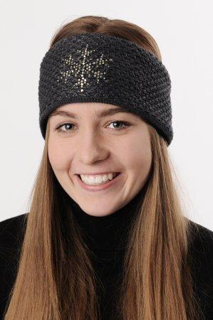 Antracit šedá dámská zimní pletená čelenka s černou lesklou nitkou a kamínky