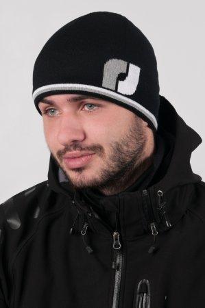 Černá pánská zimní pletená čepice s žakárovým výpletem loga