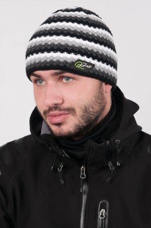 Pánská zimní pletená čepice s šedými pruhy a černou proužkou