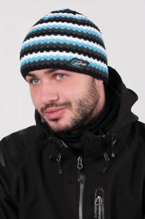 Pánská zimní pletená čepice s šedými pruhy výraznou modrou proužkou
