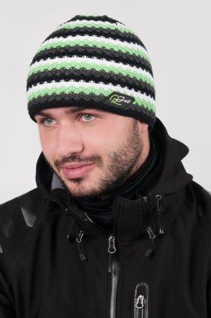 Pánská zimní pletená čepice s šedými pruhy výraznou zelenou proužkou