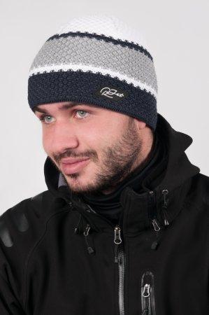 Pánská zimní pletená čepice s barevnými pruhy modrá-šedá-bílá