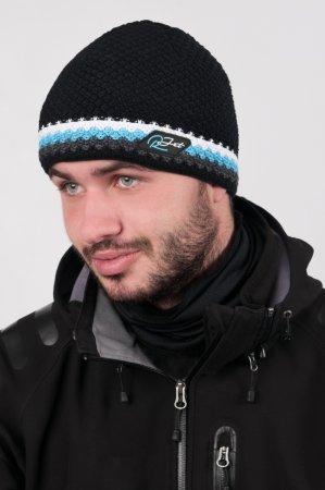 Černá  pánská zimní pletená čepice s výrazným modrým proužkem