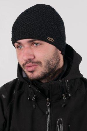 Elegantní černá pánská zimní pletená čepice