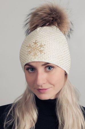 Smetanově bílá dámská zimní pletená čepice s pravou kožešinovou bambulí