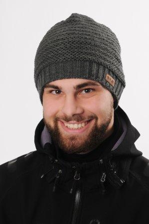 Antracitově šedá pánská zimní pletená čepice