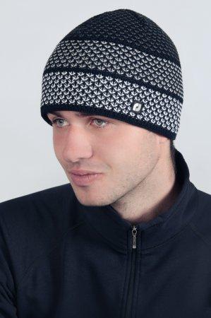 Černá melírovaná pánská zimní pletená čepice