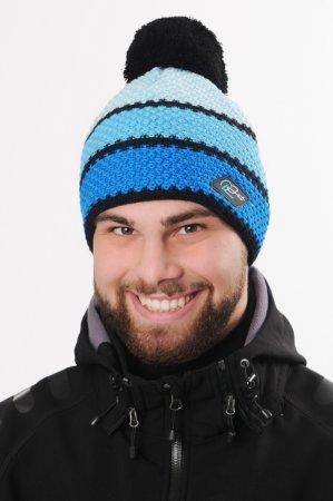 Modrá pánská zimní pletená čepice s pruhy a bambulí