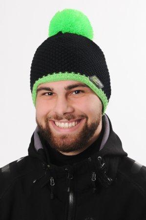 Pánská černá zimní pletená čepice se zeleým pruhem a bambulí