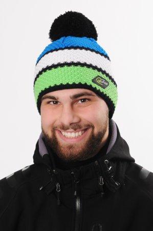 Pánská zimní pletená čepice s bambulí a s pruhy zelená-bílá-modrá-černá
