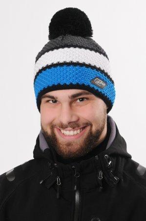 Pánská zimní pletená čepice s bambulí a barevnými pruhy bílá-tmavě šedá-modrá-černá