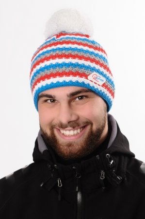 Pánská zimní pletená čepice s barevnými pruhy modrá-bílá-červená-šedá