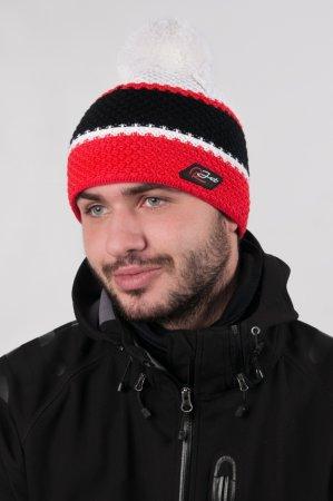 Pánská zimní pletená čepice s bambuli a  barevnými pruhy červená-černá-bílá