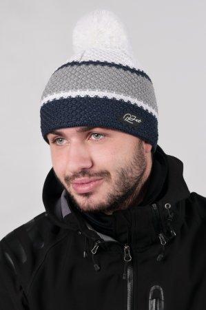 Pánská zimní pletená čepice s bambulí a barevnými pruhy džínově modrá-šedá-bílá