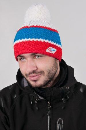 Pánská zimní pletená čepice s bambulí a barevnými pruhy červená-modrá-bílá
