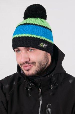 Pánská zimní pletená čepice s bambulí a barevnými pruhy černá-modrá-zelená
