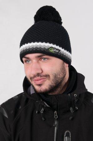 Černá  pánská zimní pletená čepice s bambulí a s výrazným bílým proužkem