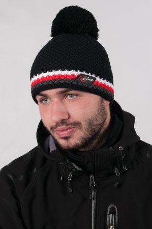 Černá  pánská zimní pletená čepice s bambulí a s výrazným červeným proužkem