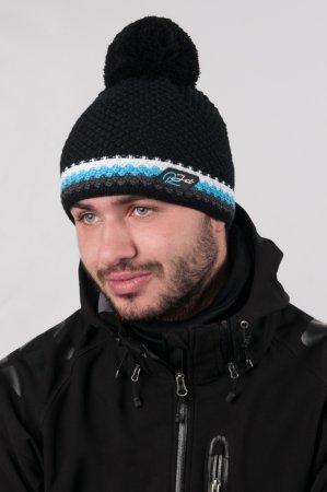 Černá  pánská zimní pletená čepice s bambulí a s výrazným modrým proužkem