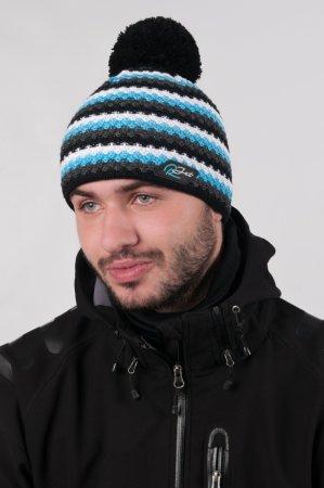 Pánská zimní pletená čepice s bambulí a šedými pruhy s výraznou modrou proužkou
