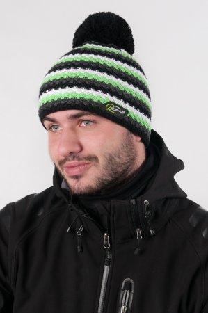 Pánská zimní pletená čepice s bambulí a šedými pruhy s výraznou zelenou proužkou