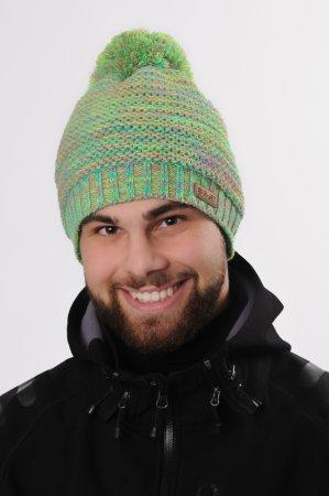 Melírovaná zelená pánská zimní pletená čepice s bambulí