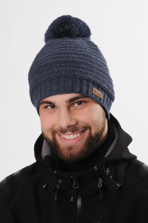Džínově modrá jednobarevná pánská zimní pletená čepice s bambulí