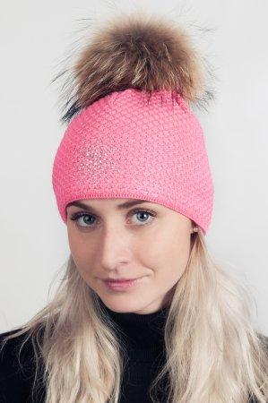 Svítivě růžová dámská zimní pletená čepice s pravou kožešinovou bambulí