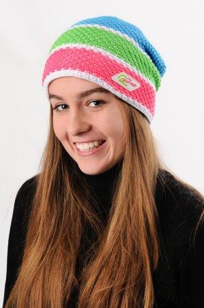 Prodloužená dámská zimní pletená čepice s pruhy růžová-zelená-modrá-bílá