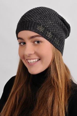 Antracitově šedá dámská prodloužená zimní pletená čepice se stříbrným lurexem