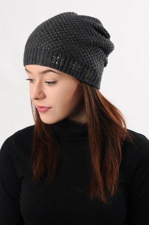 Antracitově šedá dámská prodloužená zimní pletená čepice s černým lurexem