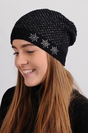 Černá dámská prodloužená zimní pletená čepice se stříbrným lurexem