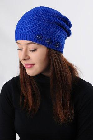 Modrá dámská prodloužená zimní pletená čepice s modrým lurexem
