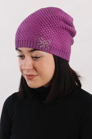 Tmavě růžová dámská prodloužená zimní pletená čepice s růžovou lesklou nitkou