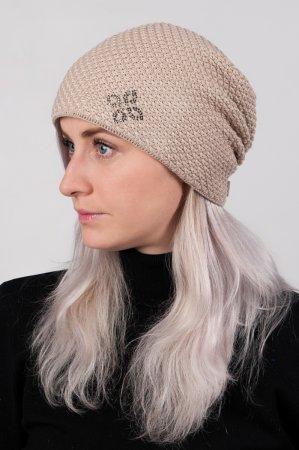 Béžová dámská prodloužená zimní pletená čepice