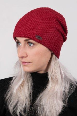 Tmavě červená dámská prodloužená zimní pletená čepice
