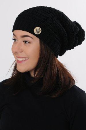 Dámská černá prodloužená pletená zimní čepice s bambulí
