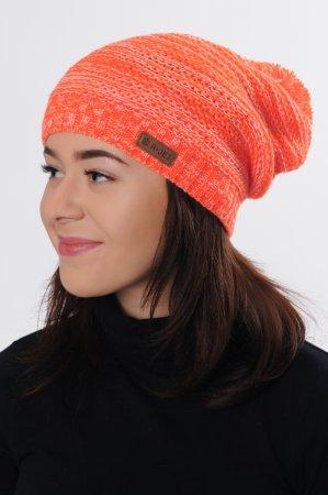 Dámská  oranžová prodloužená zimní pletená čepice s bambulí