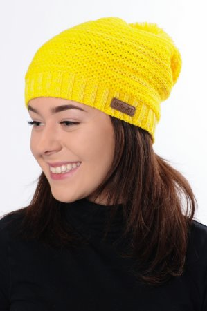Dámská žlutá prodloužená zimní pletená čepice s bambulí