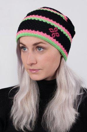 Dámská černá prodloužená pletená zimní čepice sportovního stylu