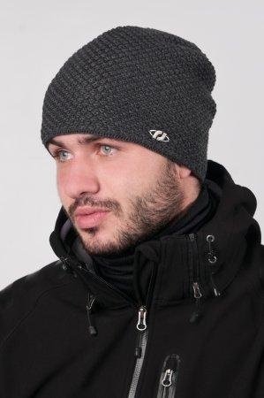 Prodloužená antracitově šedá pletená zimní čepice