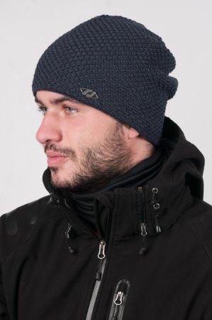 Prodloužená modrá zimní pletená čepice