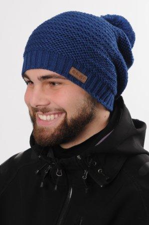 Modrá pánská prodloužená zimní pletená čepice s bambulí